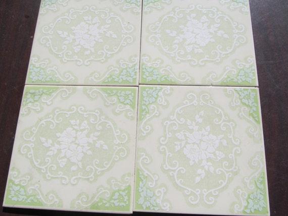 Pastel Green Floral Tiles 6x6 Tiles Home decor Ceramic Tiles Jadeite ...