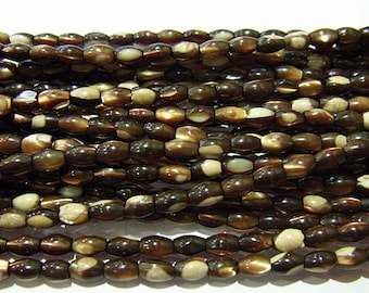6x9mm Rice Shell Natural Brown Beads - 5933