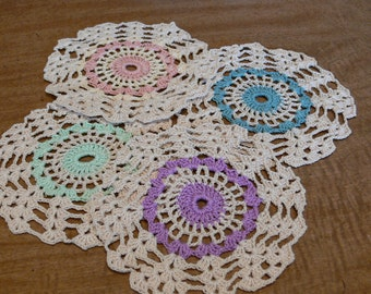 Hand Crocheted Drink Coasters or Scatter Doilies- Hostess Gift, Shower Gift, tea party, wedding, birthday partyt, House Warming