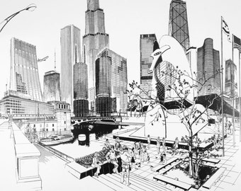 George Becker Chicago Art Print Landmarks Buildings Signed 20 x 14.5 Black & White Downtown Business Buildings Illinois Architecture
