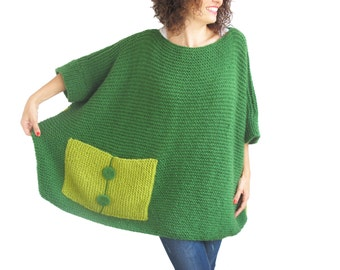 Plus Size - Over Size Sweater Green Hand Knitted Sweater with Pocket Tunic - Sweater Dress by Afra