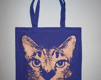 blue cat tote, cat, royal blue bag, blue tote bag, silkscreened bag, screenprinted - Unisex