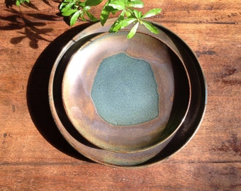 Rustic Pottery Plates and Bowl, Slate blue and brown place setting including dinner plate, salad plate and cereal bowl