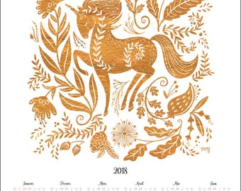 Gold Unicorn 2018 Wall Calendar, Poster
