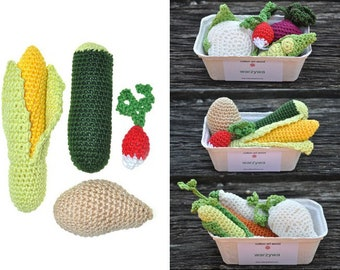 Crochet play food set - 4 pcs -  vegetables in a paper box -  100% cotton