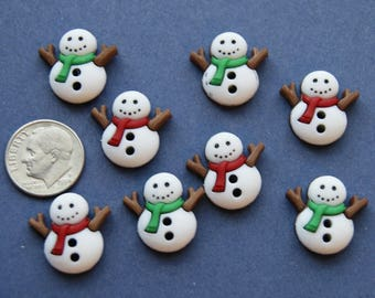 8 Snowmen Buttons, Christmas Buttons, 2 Hole Sew through Embellishments (xx 2)