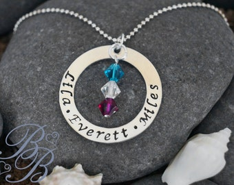 Personalized Jewlery - Hand Stamped Jewelry - Mother's Necklace - Birthstone Necklace