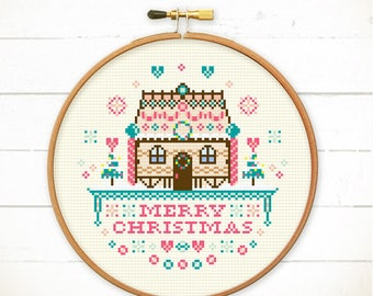 Christmas house cross stitch gingerbread house cross stitch Christmas embroidery pattern xmas cross stitch pattern - Cute Christmas House