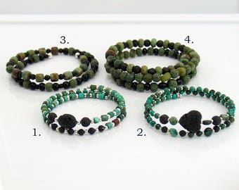 Black Green and Teal Lava Stone Bracelets, Beaded Memory Wire Bracelets for Essential Oils