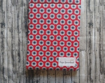 White floral on red