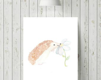 Hedgehog Print, Woodland Animal Prints Nursery, Woodland Nursery Decor, Baby Animal Nursery Prints, Hedgehog Art, Watercolour Print