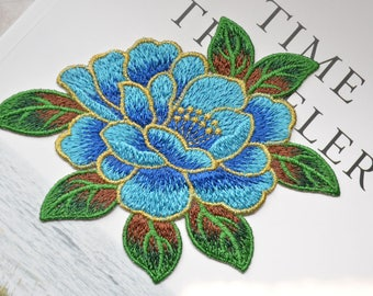 Blossom blue Embroidery flower patch ,flower embroidered patch