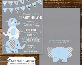 Pink elephant baby shower invitation co ed baby shower elephant baby shower invitation co ed baby shower invitation blue elephants its a filmwisefo Image collections