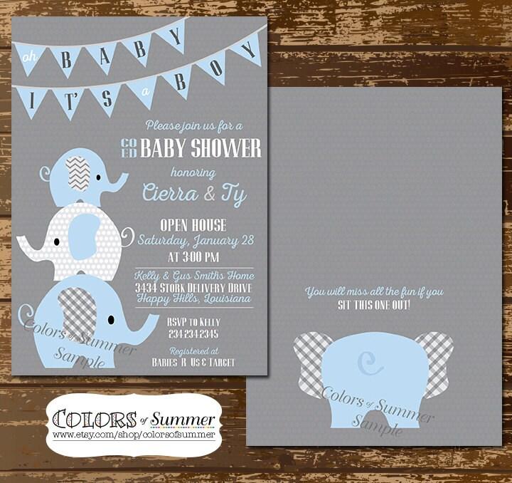 Elephant Baby Shower Invitation Co Ed Baby Shower Invitation