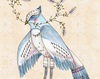 "SALE MarmeeCraft bird art print, ""The Blue Jay"" SALE"