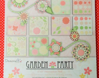 "Garden Party 8"" x 8"" Decoupage Pad 3 Sheets of 8 designs Acid free Die Cut for easy assembly"