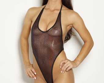Black Mesh with Pink Mirror Dots and Black String Ties - Monokini G String - One Piece Thong - See Through