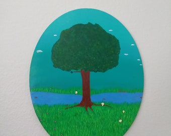 Acrylic Painting of a Tree by a river