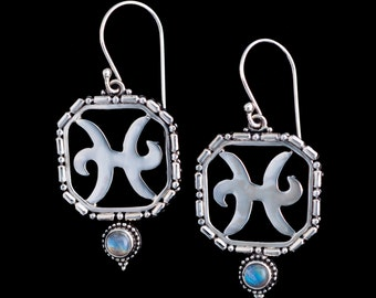 Sterling Silver Pisces Earrings, Silver Pisces Zodiac Earrings, Rainbow Moonstone Pisces Earrings, Silver Virgo Zodiac Jewelry: PISCES