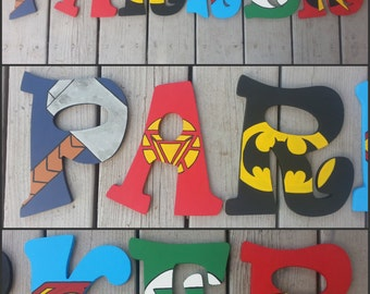 Super Hero Inspired Hand Painted Letters - Christmas Gift - Kids Christmas Gift - Gift for Kids - Hand Painted Letters - Wood Letters - Wood