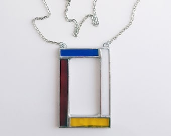 Stained glass pendant-Mondrian-blue-red-yellow-black-white-modern-hipster-geometrical