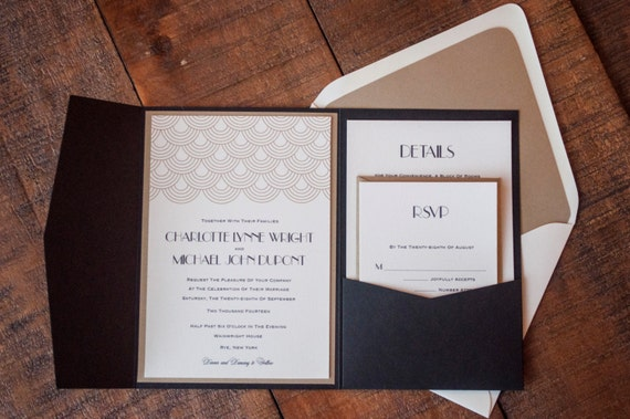 Great Gatsby Wedding Invitation: Great Gatsby Wedding Invitation Art Deco Invitation Suite