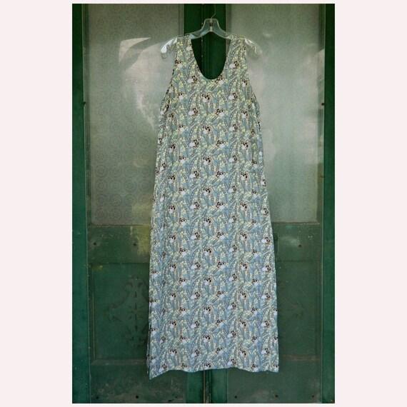 FLAX Engelhart Thinking Tropics 2004 Slipster Dress -S- Blue Sweet Pea Rayon