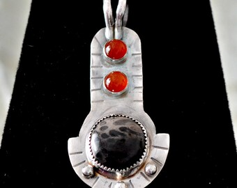 "sterling silver jasper pendant, petrified palmwood and carnelians.  ""Egyptian Sunrise"""