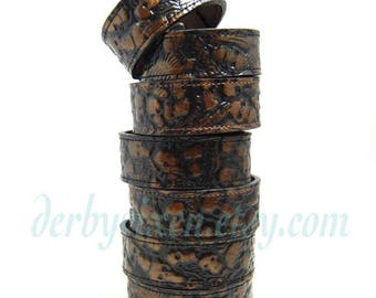 Leather Cuff with Embossed Skulls Unisex