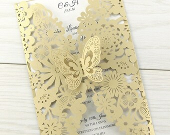 SAMPLE * Molly Laser Cut Wedding Invitation with Butterfly