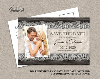 DIY Printable Rustic Wedding Photo Save The Date Postcards, Elegant 4x6 Wedding Save The Date Postcard With Burlap And Lace