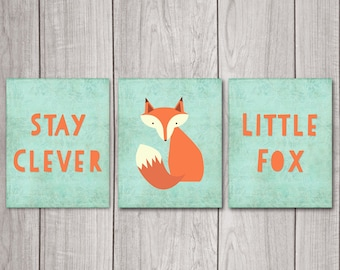 Stay Clever Little Fox (Set of 3) - 8x10 Fox Nursery Decor, Nursery Art, Nursery Decor, Woodland Nursery, Nursery Wall Decor