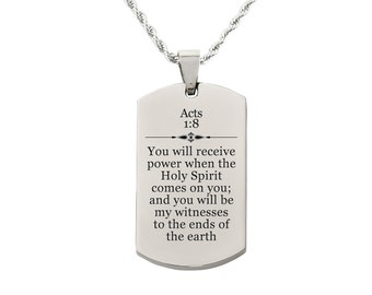 Acts 1:8 Tag Necklace - SSDOGTAG-ACTS1.8-SLV - Silver