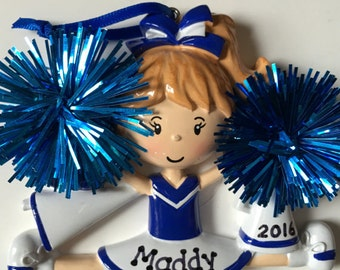 Personalized Blue Cheerleader Christmas Ornament- Free Personalization