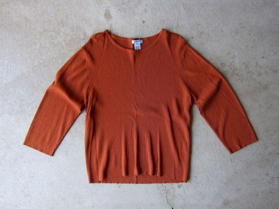 Ribbed Knit Top Rust Brown Tee Vintage 90s Long Sleeve Minimal Shirt Preppy Rib Modern Boxy Shirt Oversized Womens Petite XL