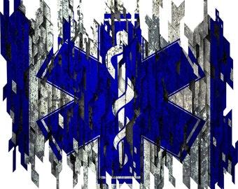 Distressed EMT flag decal, full color EMT flag decal, flag sticker, EMT flag laptop sticker, vinyl decal, vinyl sticker