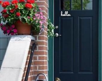 Hello Vinyl Door Decal - Hello Front Door Decals, Hello Home Office Decor, Custom Vinyl Decals, Hello Vinyl, Hello Decal