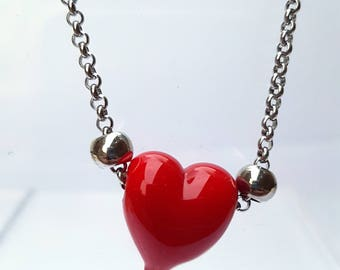 Necklace saint Valentine's day-red heart glass bead-Murano glass bead Heart Necklace silver heart-heart pendants, jewelry chain