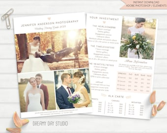 photography pricing template, wedding photographer pricing template, photographer price list, brochure, flyer, templates for photographers