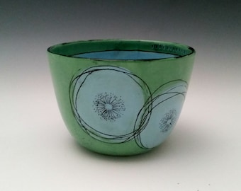 Ceramic Bowl with Abstract Blue Flowers