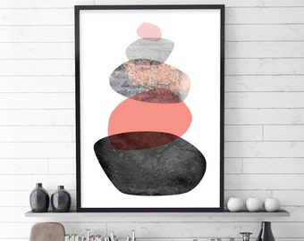 Minimalist Poster, Balancing Stones, Scandinavian Print, Scandinavian Art, Printable Art, Downloadable Prints, Peach, Rose Quartz, Pastel
