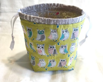 Owl SockSack Sock Knitting Bag Small Knitting Project Bag