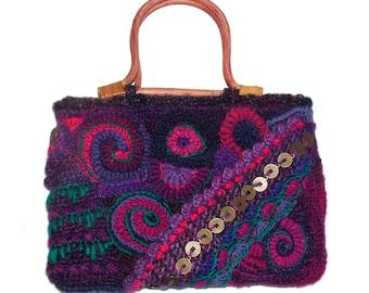 Small Crochet Bag Women's Freeform Crochet Handbag OOAK Freeform wearable art