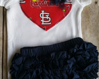 St Louis Cardinals Inspired Shirt and Ruffle Diaper Cover