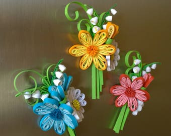 Quilled flower bouquet with magnets/ Flower decoration/Fridge magnets/Quilling decoration/Handmade decoration/