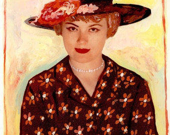 Doris and Her Daisy Dress Mid Century Woman Altered Photo Encaustic Beeswax Painting Color Photograph Print