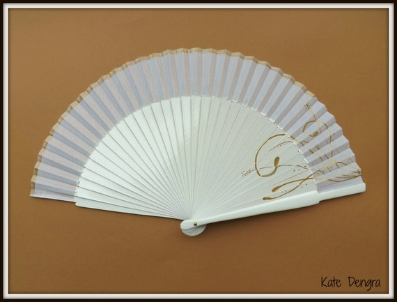White and Fancy Gold Design SIZE OPTIONS Hand Held Folding Fan From Spain by Kate Dengra MTO