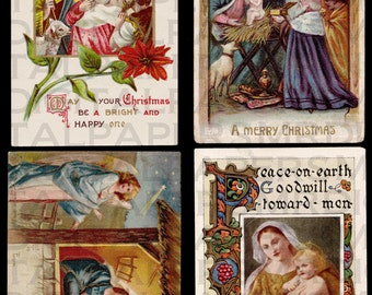 4 Four Antique Christmas Postcards. Nativity Scenes. 14 x 21. Digital Paper Download Scrapbooking Supplies Instant Download High Resolution