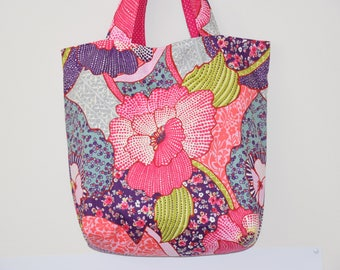 Tote bag / tote bag - double - cotton canvas - flowers - colorful patterns
