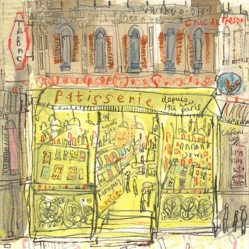 PATISSERIE PARIS ART Paris cake shop Art French Signed